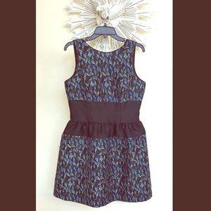 Belle Badgley Mischka blue tulips cocktail dress 8